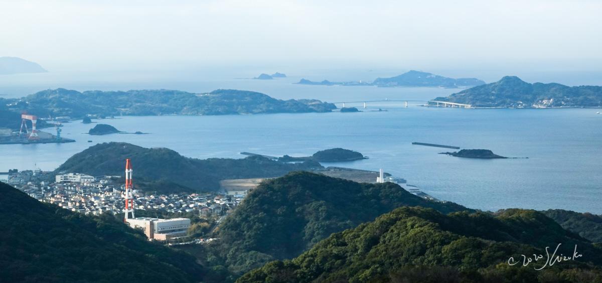 稲佐山からみた伊王島大橋と島々
