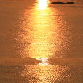 朝日が映った大村湾
