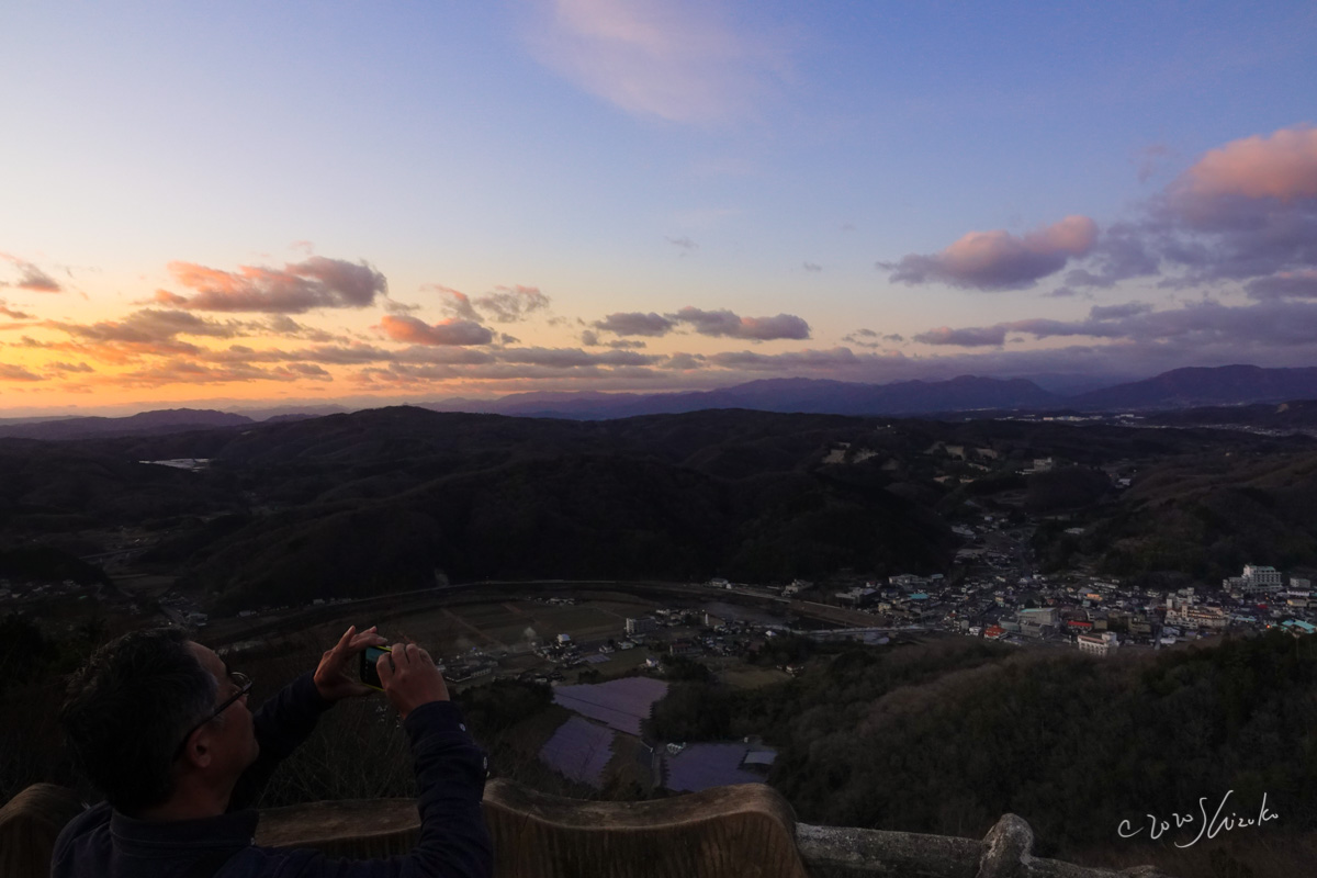 夕暮れ時の大山展望台